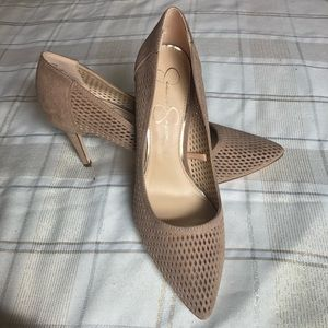 Jessica Simpson Perforated Leevie Tan Heels